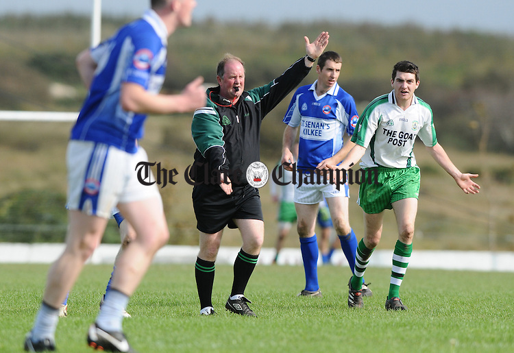 Referee Michael Talty during the senior championship quarter final replay at Kilmihil. Photograph by John Kelly.