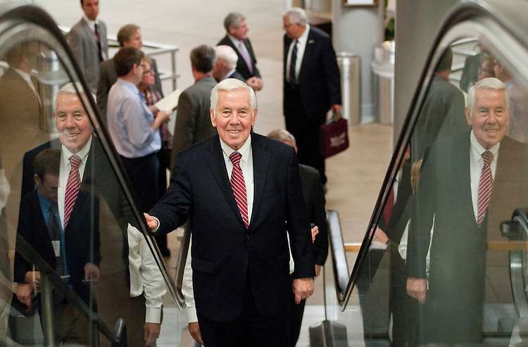 UNITED STATES - OCTOBER 4: Sen. Richard Lugar, R-Ind., arrives in the Capitol via the Senate Subway on Tuesday, Oct. 4, 2011. (Photo By Bill Clark/CQ Roll Call)