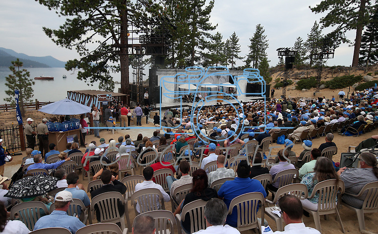 Hundreds of people attended the 17th annual Lake Tahoe Summit conference at Sand Harbor, near Incline Village, Nev., on Monday, Aug. 19, 2013. The event brings representatives together from agencies around Nevada and California to protect Lake Tahoe. <br />