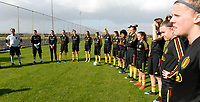 20190226 - LARNACA , CYPRUS :  illustration picture shows the players listening during a Matchday -1 training from The Belgian Red Flames prior to their game against the women team of Slovakia , on Tuesday 26 February 2019 at the Alpha Sports Grounds in Larnaca , Cyprus . This will be the first game in group C for Belgium during the Cyprus Womens Cup 2019 , a prestigious women soccer tournament as a preparation on the European Championship 2021 qualification duels. PHOTO SPORTPIX.BE | DAVID CATRY