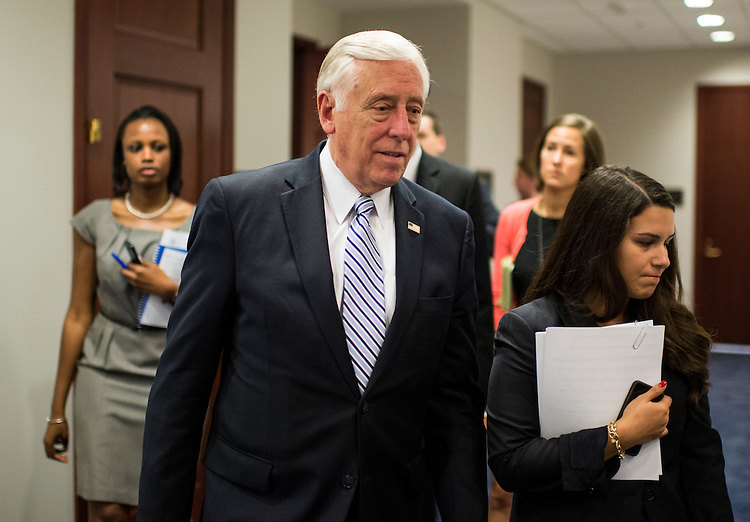 UNITED STATES - JULY 17: House Minority Whip Steny Hoyer, D-Md., leaves the House Democrats' caucus meeting in the Capitol Visitor Center on Wednesday, July 17, 2013. (Photo By Bill Clark/CQ Roll Call)