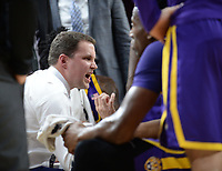 NWA Democrat-Gazette/ANDY SHUPE<br /> LSU coach Will Wade directs his players against Arkansas Friday, Jan. 11, 2019, during the first half of play in Bud Walton Arena in Fayetteville. Visit nwadg.com/photos to see more photographs from the game.