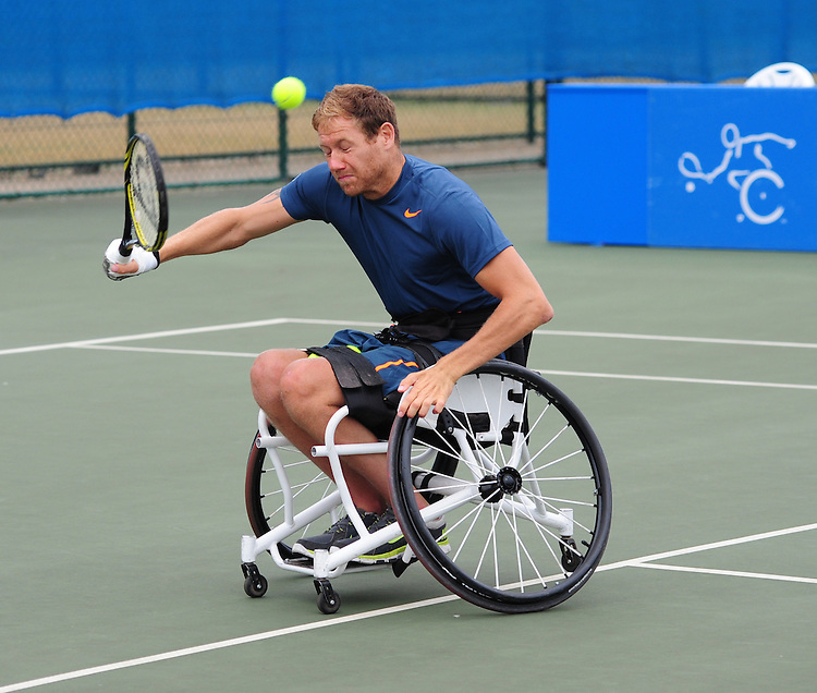 Anthony Cotterill (GBR) [2] in action with his partner Greg Hasterok (USA) in their Quad Doubles Final against David Wagner (USA) and Sarah Hunter (CAN) [1] - David Wagner (USA) and Sarah Hunter (CAN) [1] def Anthony Cotterill (GBR) [2] and Greg Hasterok (USA) 6-1 6-1<br /> <br /> Tennis - British Open Wheelchair Tennis Championships - Sunday 21st July 2012 - Nottingham Tennis Centre - Nottingham<br /> <br /> &copy; Tennis Foundation/James Jordan - The National Tennis Centre - 100 Priory Lane - Roehampton - London - SW15 5JQ - Tel 020 8487 7304 - info@tennisfoundation.org.uk