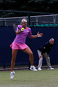 June 12th 2017,  Nottingham, England; WTA Aegon Nottingham Open Tennis Tournament day3; Yanina Wickmayer of Belgium hits a forehand in her victory over Elizaveta Kulichkova of Russia which she won 6-4 6-4