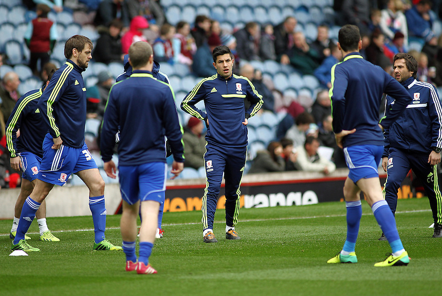 Middlesbrough players during the pre-match warm-up warm-up <br /> <br /> Photo by Rich Linley/CameraSport<br /> <br /> Football - The Football League Sky Bet Championship - Burnley v Middlesbrough - Saturday 12th April 2014 - Turf Moor - Burnley<br /> <br /> &copy; CameraSport - 43 Linden Ave. Countesthorpe. Leicester. England. LE8 5PG - Tel: +44 (0) 116 277 4147 - admin@camerasport.com - www.camerasport.com