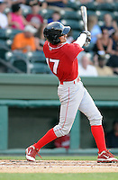 Infielder Geancarlo Mendez (17) of the Lakewood BlueClaws, Class A affiliate of the Philadelphia Phillies, in a game against the Greenville Drive on July 12, 2011, at Fluor Field at the West End in Greenville, South Carolina. (Tom Priddy/Four Seam Images)