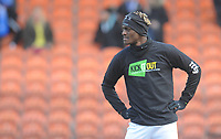 Blackpool's Armand Gnanduillet during the pre-match warm-up <br /> <br /> Photographer Kevin Barnes/CameraSport<br /> <br /> The EFL Sky Bet League One - Blackpool v Peterborough United - Saturday 13th April 2019 - Bloomfield Road - Blackpool<br /> <br /> World Copyright &copy; 2019 CameraSport. All rights reserved. 43 Linden Ave. Countesthorpe. Leicester. England. LE8 5PG - Tel: +44 (0) 116 277 4147 - admin@camerasport.com - www.camerasport.com