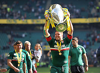 Ed Slater lifts the Aviva Premiership trophy to the crowd. Aviva Premiership Final, between Leicester Tigers and Northampton Saints on May 25, 2013 at Twickenham Stadium in London, England. Photo by: Patrick Khachfe / Onside Images