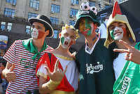 01.07.2012,Kiev, Ukraine, EUROPEAN CHAMPIONSHIP,FINAL,  SPAIN versus ITALY, Picture shows spectators in fancy dress and face paint as they celebrate before the game.