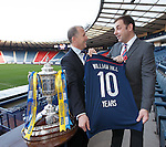 SFA chief exec Stweart Regan and William Hill's Chief Marketing Officer Alex O'Shaughnessy at Hampden announcing an extension of their sponsorship package with the SFA