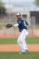 San Diego Padres shortstop Luis Almanzar (14) during a Minor League Spring Training game against the Seattle Mariners at Peoria Sports Complex on March 24, 2018 in Peoria, Arizona. (Zachary Lucy/Four Seam Images)