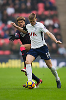 Tottenham Hotspur's Eric Dier holds off the challenge from Huddersfield Town's Philip Billing <br /> <br /> Photographer Craig Mercer/CameraSport<br /> <br /> The Premier League - Tottenham Hotspur v Huddersfield Town - Saturday 3rd March 2018 - Wembley Stadium - London<br /> <br /> World Copyright &copy; 2018 CameraSport. All rights reserved. 43 Linden Ave. Countesthorpe. Leicester. England. LE8 5PG - Tel: +44 (0) 116 277 4147 - admin@camerasport.com - www.camerasport.com