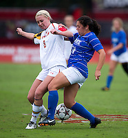 Ashley Spivey (8) of Maryland fights for the ball with Mollie Pathman (24) of Duke at Ludwig Field on the campus of the University of Maryland in College Park, MD. DC. Duke defeated Maryland, 2-1.