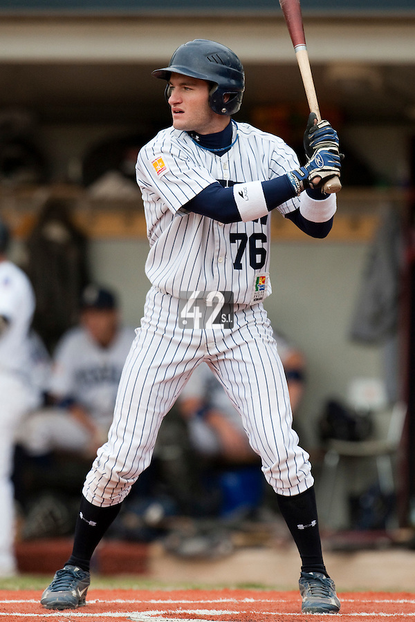 03 october 2009: Joris Bert of Rouen is seen at bat during game 1 of the 2009 French Elite Finals won 6-5 by Rouen over Savigny in the 11th inning, at Stade Pierre Rolland stadium in Rouen, France.