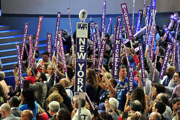 Michelle Obama supporters in the New York delegation at the 2016 Democratic National Convention held at the Wells Fargo Center in Philadelphia, Pennsylvania on Saturday, July 23, 2016.<br /> Credit: Ron Sachs / CNP/MediaPunch<br /> (RESTRICTION: NO New York or New Jersey Newspapers or newspapers within a 75 mile radius of New York City)