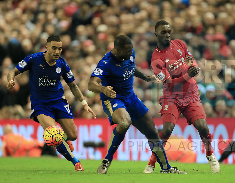 Liverpool's Christian Benteke tussles with Leicester's Wes Morgan<br /> <br /> Barclays Premier League- Liverpool vs Leicester City - Anfield - England - 26th December 2015 - Picture David Klein/Sportimage