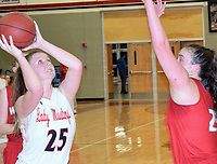 RICK PECK/SPECIAL TO MCDONALD COUNTY PRESS<br /> McDonald County's Mattie Leach scores two of her nine points during the Lady Mustangs' 56-43 win over Reeds Spring on Feb. 11 at MCHS.