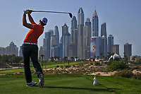 Matthieu Pavon (FRA) on the 8th tee during Round 3 of the Omega Dubai Desert Classic, Emirates Golf Club, Dubai,  United Arab Emirates. 26/01/2019<br /> Picture: Golffile | Thos Caffrey<br /> <br /> <br /> All photo usage must carry mandatory copyright credit (© Golffile | Thos Caffrey)