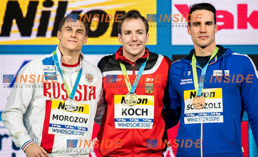 KOCH Marco GER Gold Medal<br /> MOROZOV Vladimir RUS Silver Medal<br /> SCOZZOLI Fabio ITA Bronze Medal<br /> Men's 100m Breaststroke<br /> 13th Fina World Swimming Championships 25m <br /> Windsor  Dec. 7th, 2016 - Day02 Finals<br /> WFCU Centre - Windsor Ontario Canada CAN <br /> 20161207 WFCU Centre - Windsor Ontario Canada CAN <br /> Photo &copy; Giorgio Scala/Deepbluemedia/Insidefoto