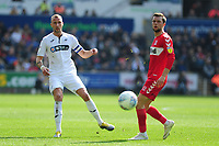 Mike van der Hoorn of Swansea City in action during the Sky Bet Championship match between Swansea City and Middlesbrough at the Liberty Stadium in Swansea, Wales, UK. Saturday 06 April 2019