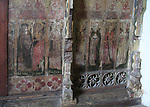 Medieval rood screen paintings, St Andrew church, Westhall, Suffolk, England, UK