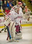 24 November 2013: University of Massachusetts Goaltender Steve Mastalerz, a Junior from North Andover, MA, in action during the second period against the University of Vermont Catamounts at Gutterson Fieldhouse in Burlington, Vermont. The Cats shut out the Minutemen 2-0 to sweep the 2-game home-and-away weekend Hockey East Series. Mandatory Credit: Ed Wolfstein Photo *** RAW (NEF) Image File Available ***