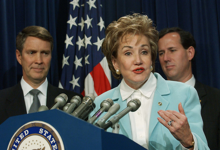 11/16/04.SENATE GOP LEADERSHIP--Majority Leader Bill Frist, R-Tenn, National Republican Senatorial Committee Chairman Elizabeth Dole, R-N.C., and Conference Chairman Rick Santorum, R-Pa., during a news conference following the GOP conference election of the leaders. Dole won over Norm Coleman of Minnesota by a single vote, 28-27, in the only contested election. .CONGRESSIONAL QUARTERLY PHOTO BY SCOTT J. FERRELL