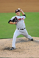 Starting pitcher Shawn Morimando (25) of the Carolina Mudcats in a game against the Potomac Nationals on Friday, June 21, 2013, at G. Richard Pfitzner Stadium in Woodbridge, Virginia. Potomac won, 5-1. (Tom Priddy/Four Seam Images)
