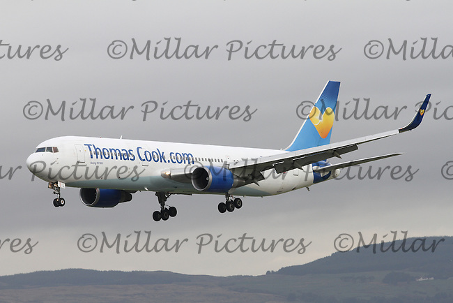 A Thomas Cook Airlines Boeing 767-31K Registered Number G-DAJC landing from Manchester Airport at Glasgow Airport on 9.10.15.