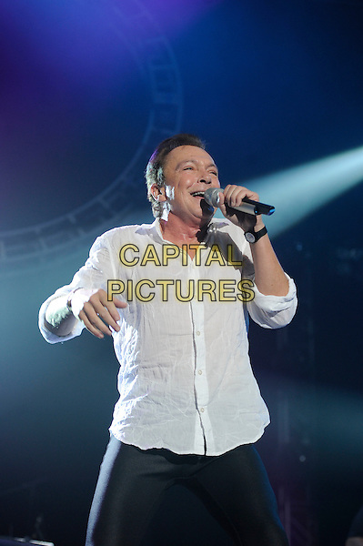 David Cassidy.Performing live in concert as part of the Once In A Lifetime Tour, Wembley Arena, London, England, England..11th November 2012.on stage in concert live gig performance performing music half length white shirt black jeans denim singing .CAP/MAR.© Martin Harris/Capital Pictures.