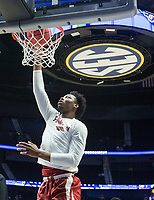 NWA Democrat-Gazette/BEN GOFF @NWABENGOFF<br /> Gabe Osabuohien, Arkansas forward, warms up Thursday, March 14, 2019, before the second round game vs Florida in the SEC Tournament at Bridgestone Arena in Nashville.