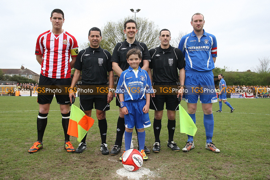Captains, officials and mascot pose for a photo before kick-off - AFC Hornchurch vs Lowestoft Town - Ryman League Premier Division Play-Off Final Football at The Stadium, Upminster Bridge, Essex - 07/05/12 - MANDATORY CREDIT: Gavin Ellis/TGSPHOTO - Self billing applies where appropriate - 0845 094 6026 - contact@tgsphoto.co.uk - NO UNPAID USE.