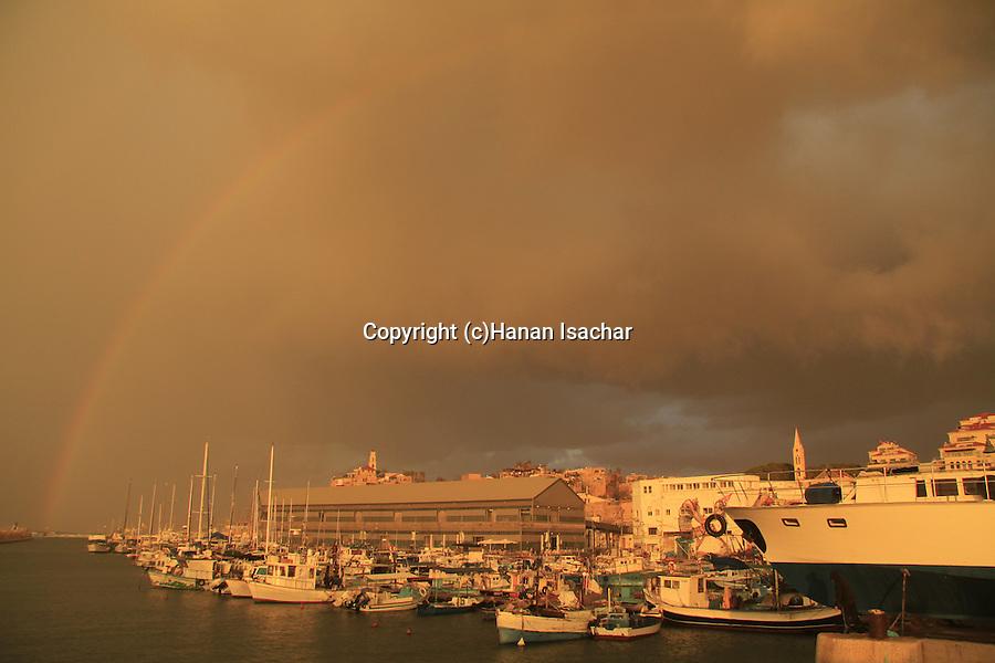 Israel, Tel Aviv-Yafo, a rainbow over Old Jaffa port