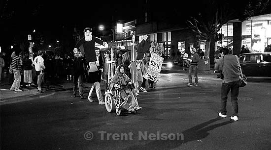 Anti- George Bush protest on Halloween night on Telegraph Avenue.<br />