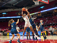 COLLEGE PARK, MD - NOVEMBER 20: Mayowa Taiwo #31 of George Washington defends against Kaila Charles #5 of Maryland during a game between George Washington University and University of Maryland at Xfinity Center on November 20, 2019 in College Park, Maryland.