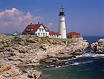 Summer view of Portland Head Lighthouse in Cape Elizabeth, Maine, USA