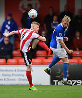 Lincoln City's Elliott Whitehouse vies for possession with Macclesfield Town's Kingsley James<br /> <br /> Photographer Chris Vaughan/CameraSport<br /> <br /> Vanarama National League - Lincoln City v Macclesfield Town - Saturday 22nd April 2017 - Sincil Bank - Lincoln<br /> <br /> World Copyright &copy; 2017 CameraSport. All rights reserved. 43 Linden Ave. Countesthorpe. Leicester. England. LE8 5PG - Tel: +44 (0) 116 277 4147 - admin@camerasport.com - www.camerasport.com