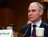 Attorney General Scott Pruitt (Republican of Oklahoma) testifies before the US Senate Committee on Environment and Public Works on his nomination to serve as Administrator of the Environmental Protection Agency on Capitol Hill in Washington, DC on Wednesday, January 18, 2017.<br /> Credit: Ron Sachs / CNP