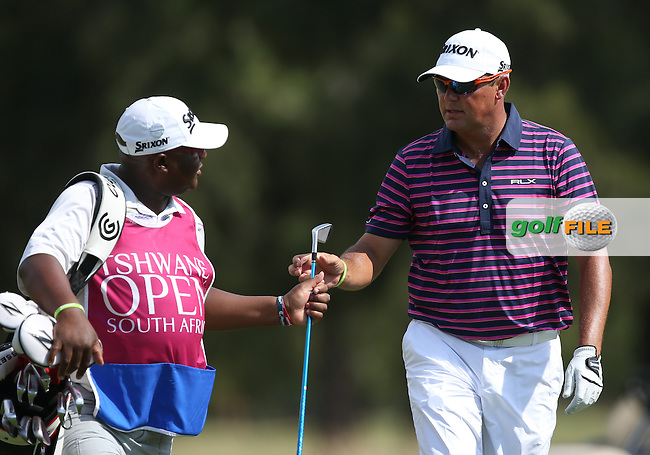 Wallie Coetsee (RSA) and caddie Pat during Round Two of the Tshwane Open 2015 at the Pretoria Country Club, Waterkloof, Pretoria, South Africa. Picture:  David Lloyd / www.golffile.ie. 13/03/2015