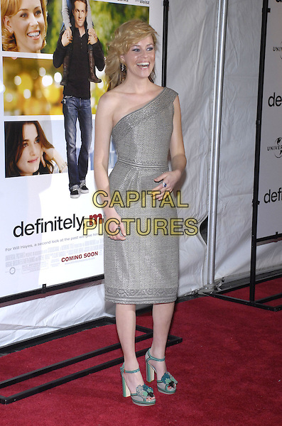 "ELIZABETH BANKS .The ""Definitely, Maybe"" Premiere at the Ziegfeld Theater, New York City, NY, USA. .February 12, 2008 .full length grey gray silver one shoulder dress blue shoes .CAP/ADM/BL.©Bill Lyons/AdMedia/Capital Pictures."