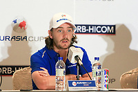 Tommy Fleetwood (Europe) during an interview after the Friday Foursomes of the Eurasia Cup at Glenmarie Golf and Country Club on the 12th January 2018.<br /> Picture:  Thos Caffrey / www.golffile.ie