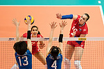 Wing spiker Irina Voronkova of Russia (R) during the FIVB Volleyball World Grand Prix match between Japan vs Russia on 23 July 2017 in Hong Kong, China. Photo by Marcio Rodrigo Machado / Power Sport Images