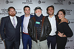 Left to right - Producers Chris Mangano, (Director) Matt Ratner, Rick Rosenthal, John Herrman and Gabrielle Nadig arrive at the world premiere of Standing Up, Falling Down at the 2019 Tribeca Film Festival presented by AT&T Thursday, April 25, 2019 at SVA Theater - 333 West 23 Street New York, NY.