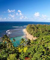 Ke'e Beach dotted with visitors, as seen from the Kalalau Trail on Kaua'i.