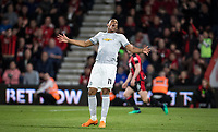 Anthony Martial of Man Utd after a missed opportunity during the Premier League match between Bournemouth and Manchester United at the Goldsands Stadium, Bournemouth, England on 18 April 2018. Photo by Andy Rowland.