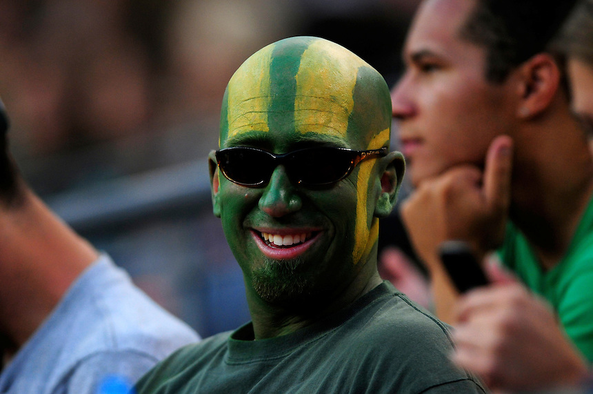 31 Aug 2008: A Colorado State fan with his head painted like the Rams' helmets during a game between Colorado State and Colorado. The Colorado Buffaloes defeated the Colorado State Rams 38-17 at Invesco Field at Mile High in Denver, Colorado. FOR EDITORIAL USE ONLY
