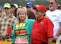 Mar. 17, 2013; Gainesville, FL, USA; NHRA team owner Don Schumacher and wife Sarah Schumacher after winning the Gatornationals at Auto-Plus Raceway at Gainesville. Mandatory Credit: Mark J. Rebilas-