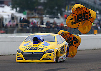 Aug 17, 2014; Brainerd, MN, USA; NHRA pro stock driver Jeg Coughlin Jr during the Lucas Oil Nationals at Brainerd International Raceway. Mandatory Credit: Mark J. Rebilas-