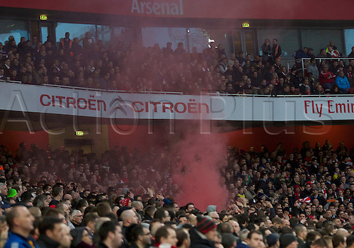 16.02.2014 London, England.  Red Mist as Liverpool get back in it with a penalty from Steven Gerrard during the FA Cup 5th Round game between Arsenal and Liverpool from the Emirates Stadium.
