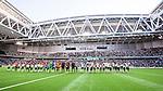 Stockholm 2014-06-08 Fotboll Superettan Hammarby IF - Landskrona BoIS  :  <br /> Hammarbys och Landskronas spelare har lineup i Tele2 Arena inf&ouml;r matchen<br /> (Foto: Kenta J&ouml;nsson) Nyckelord:  Superettan Tele2 Arena Hammarby HIF Bajen Landskrona BoIS inomhus interi&ouml;r interior